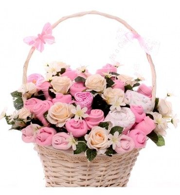 Pink and Cream Baby Bouquet Gift Basket.