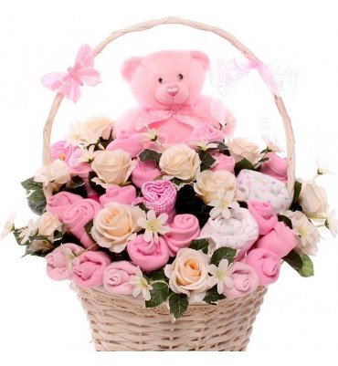 Teddy Baby Bouquet Gift Basket.