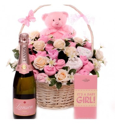 Champagne Baby Bouquet Gift Basket