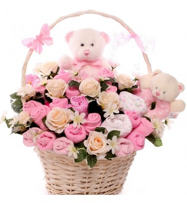Teddy Bears Baby Bouquet Gift Basket