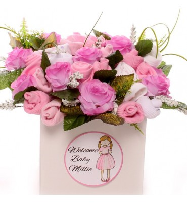 Personalised large pink baby bouquet.
