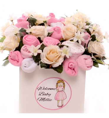 Personalised Pretty In Pink Baby Bouquet