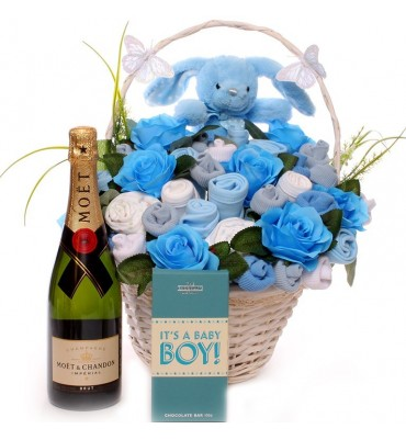 Champagne Baby Bouquet Gift Basket Boy.