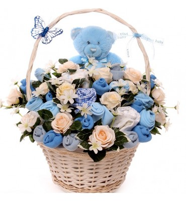 Teddy Baby Bouquet Gift Basket Boy.