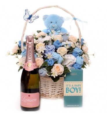 Champagne New Baby Boy Clothing Bouquet.