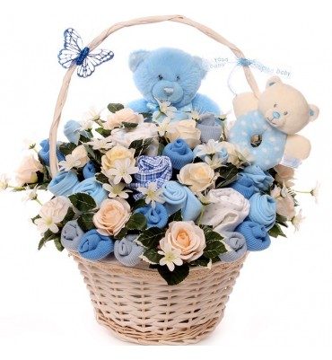 Two Little Bears New Baby Boy Flower Bouquet.