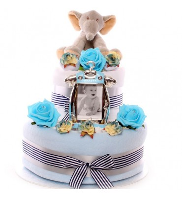 Two tier baby boy elephant nappy cake.