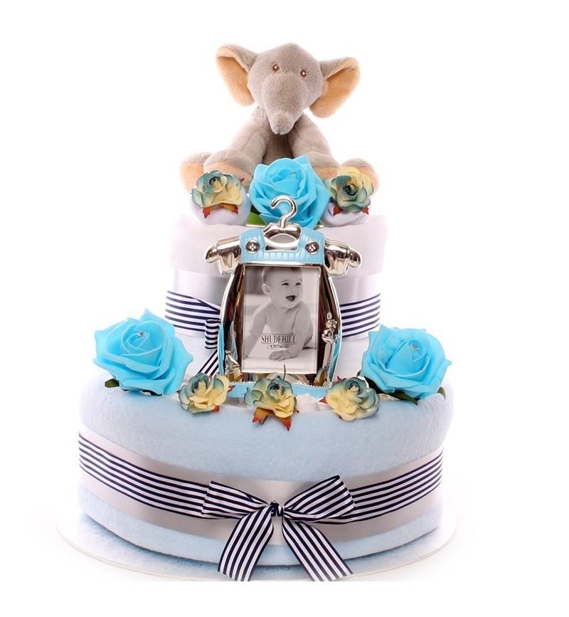 Two tier baby boy elephant nappy cake.