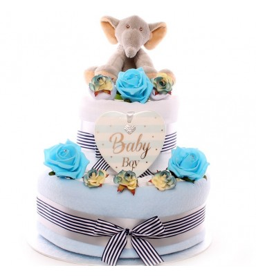 Baby Boy Two Tier Nappy Cake.