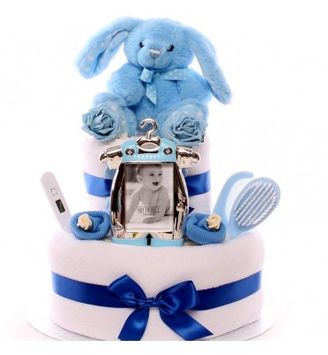 Two Tier Rabbit Nappy Cake Baby Boy.
