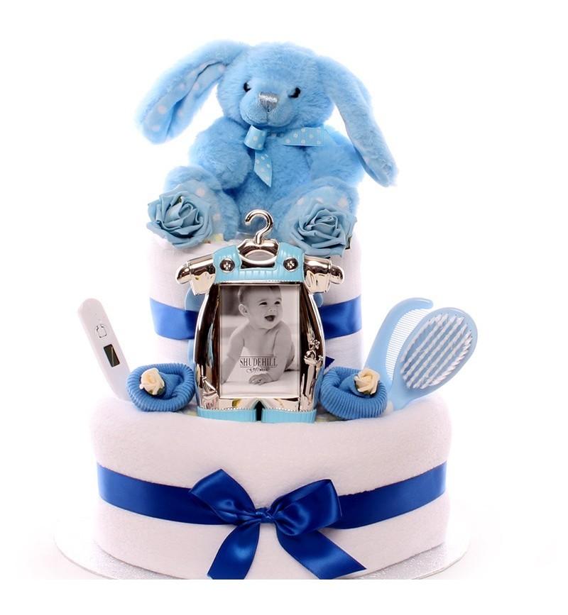 Two Tier Rabbit Nappy Cake Baby Boy.