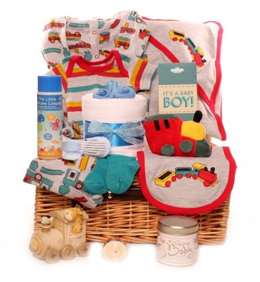 We are sailing baby boy gift basket.