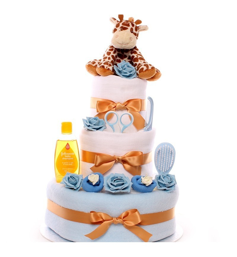 Incredible 3 Tier Nappy Cake With Giraffe Rattle For A Baby Boy Personalised Birthday Cards Veneteletsinfo