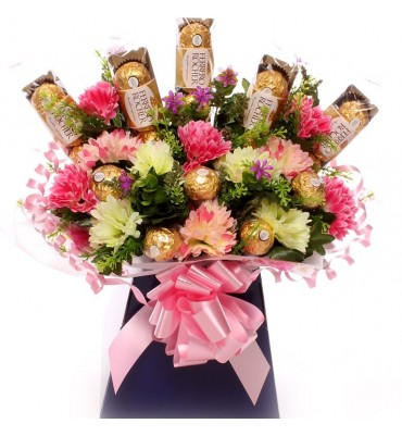 Flowers and Ferrero Rocher Chocolates.