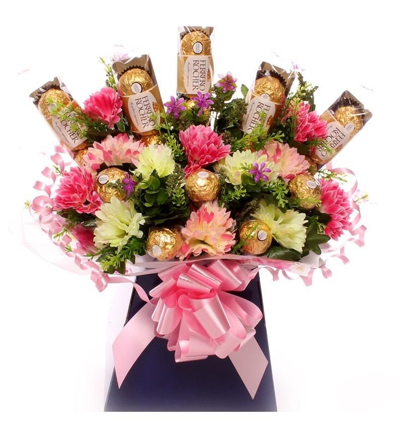 Ferrero Rocher And Flowers Bouquet