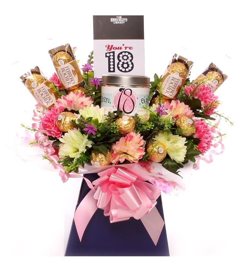 18th Birthday Candle And Ferrero Rocher Bouquet