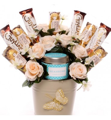 Ferrero Rocher, Guylian and Seashore Candle Bouquet.