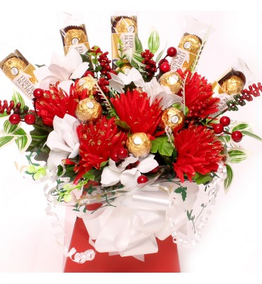 Christmas Flower Arrangements.Christmas Chocolate And Flowers Bouquets