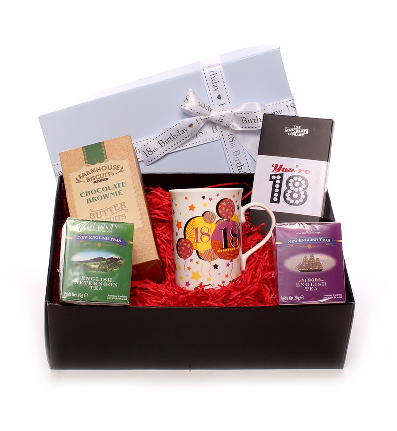 Biscuit And Youre 18 Chocolate Bar Hamper For Him A Fantastic 18th Birthday That He Will Love Beautifully Presented In Gift Box With Satin