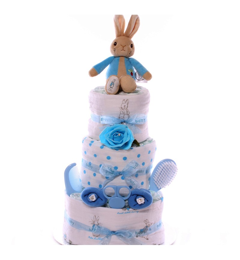 Peter Rabbit Nappy Cake With Muslin Cloth Set