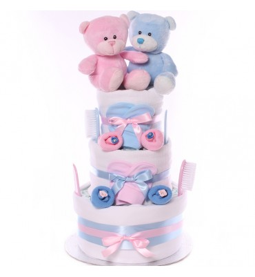 Twin Boy and Girl Nappy Cake