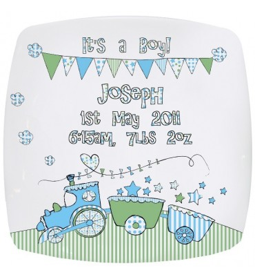 Its a boy personalised plate with train design.