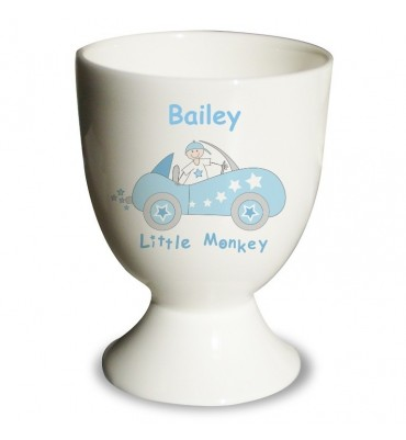 Egg Cup for a Little Boy with a Blue Car Design.