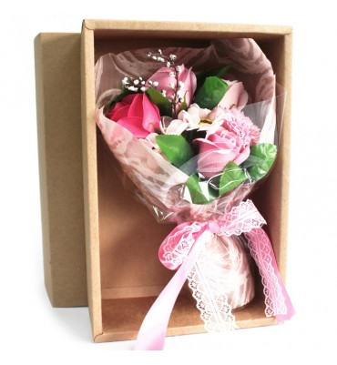 Boxed Pink Soap Flower Bouquet