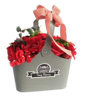 Basket of Soap Flowers - Red