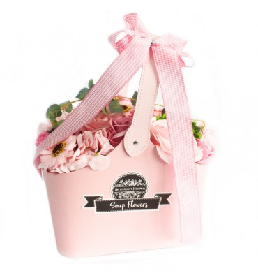 Basket of Soap Flowers - Pink