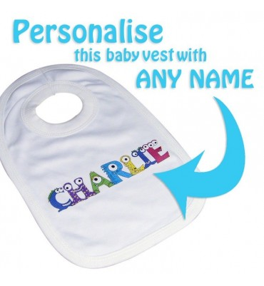 Personalised Monster Alphabet Baby Bib