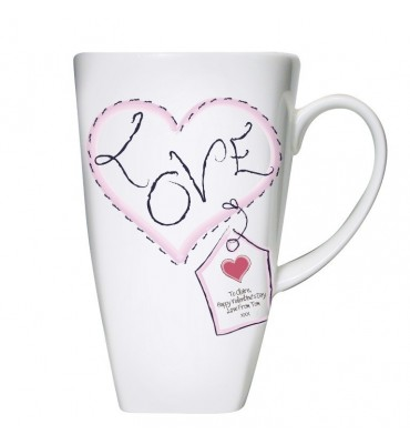 Personalised Heart Stitched Love Large Latte Mug