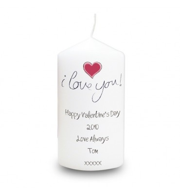 Personalised I Love You Valentines Candle