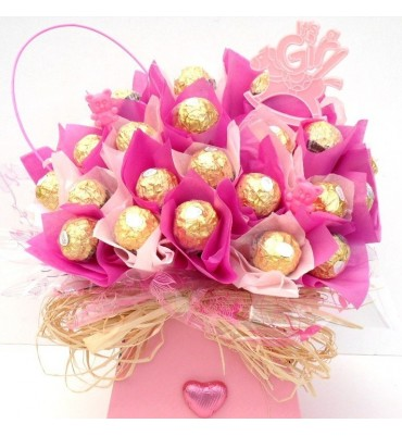 New Baby Girl Ferrero Rocher Chocolate Bouquet