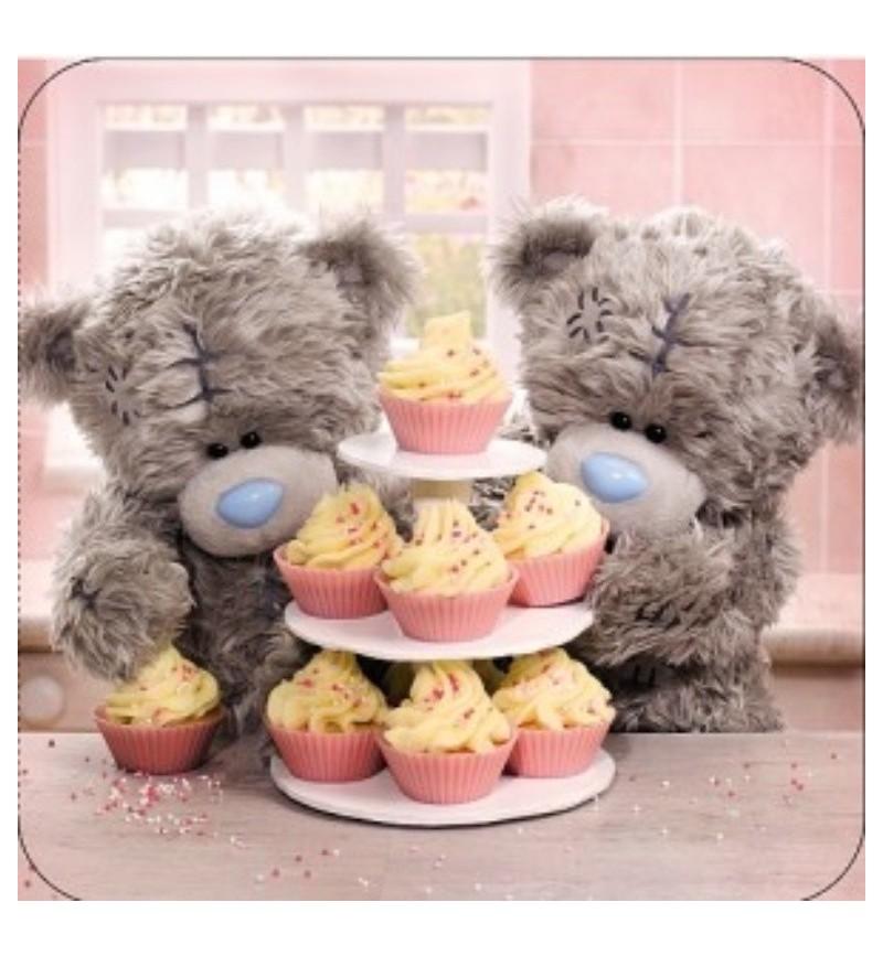 Happy Birthday Tatty Teddy By A Cake Stand Card