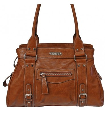 Tan leather effect stylish bag.