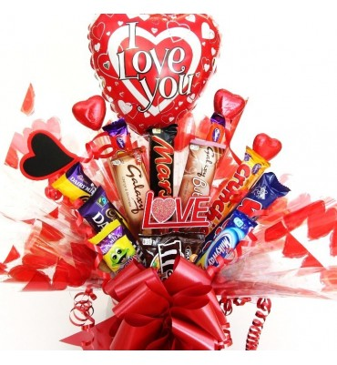 Large Valentine Chocolate Bar Bouquet