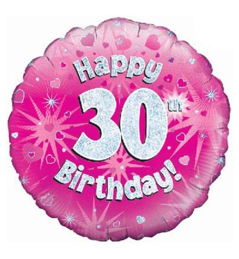 30th Birthday Pink Holographic Helium Balloon