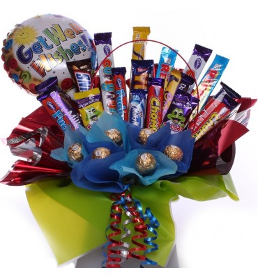Get Well Wishes Chocolate Bouquet.