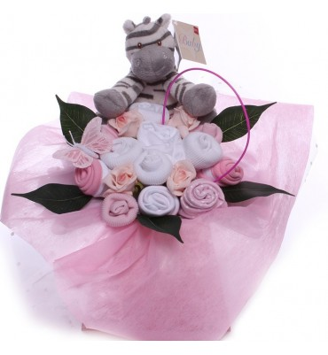 Baby Clothiing Bouquet with Zebra Rattle