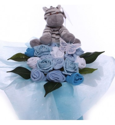 Baby Bouquet for a Baby Boy with Soft Plush Zebra
