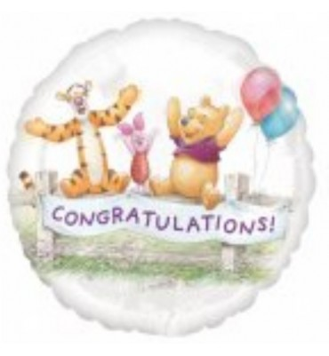 Congratulations Pooh and Friends Balloon.