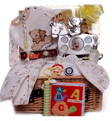 Neutral Hamper with Rocking Horse Photo Frame.