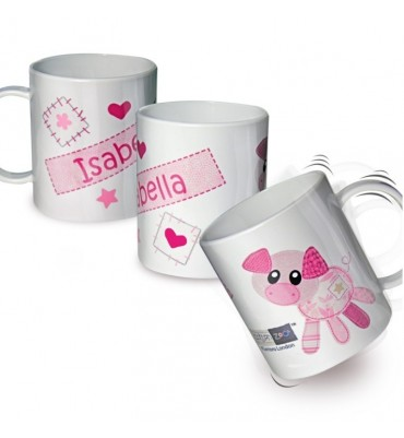 Personalised Drop Proof Mug with Cute Pig Design.