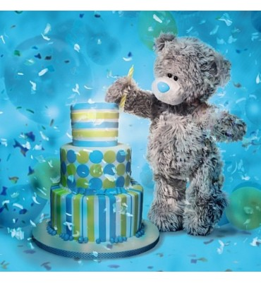 Birthday Bear with candle and cake.