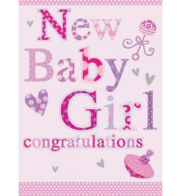 New Baby Girl Greetings Card.