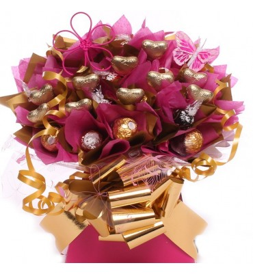 Lindor and Ferrero Chocolates with Gold Hearts Bouquet