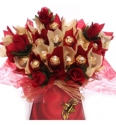 Ferrero Rocher and Silk Roses Bouquet.
