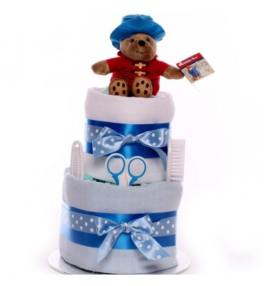2 Tier Paddington Bear Nappy Cake.