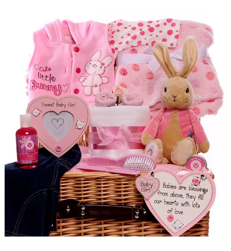Baby Girl Hamper with Flopsy Bunny.